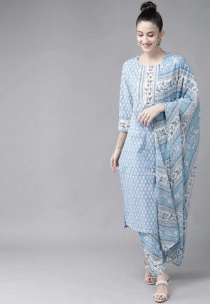Printed Cotton Pakistani Suit in Sky Blue