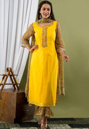 Printed Cotton Pakistani Suit in Yellow