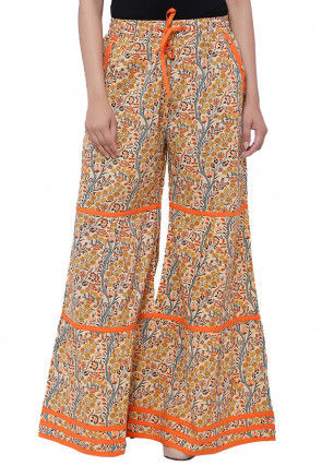 Printed Cotton Palazzo in Beige