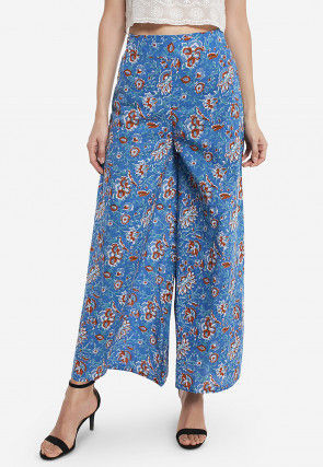 Printed Cotton Palazzo in Blue