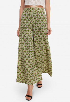 Printed Cotton Palazzo in Dusty Green