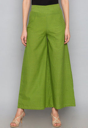 Printed Cotton Palazzo in Green