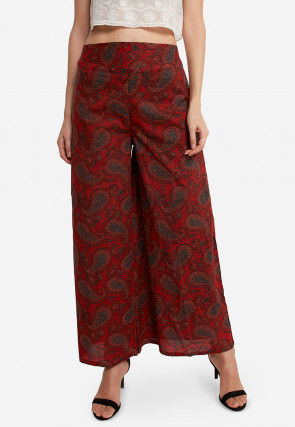 Printed Cotton Palazzo in Maroon