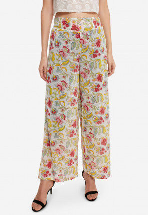 Printed Cotton Palazzo in Off White
