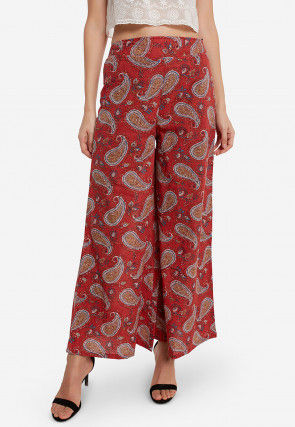 Printed Cotton Palazzo in Red