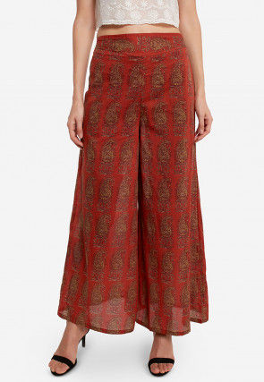 Printed Cotton Palazzo in Rust