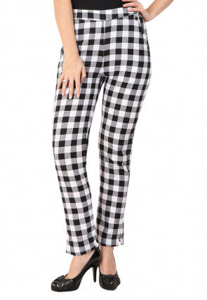 Printed Cotton Pant in Black and White