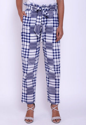 Printed Cotton Pant in Blue and White