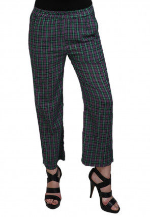 Printed Cotton Pant in Green and Magenta
