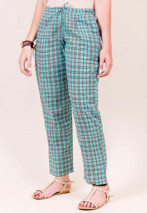 Printed Cotton Pant in Light Blue