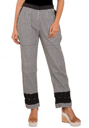 Printed Cotton Pant in White and Black