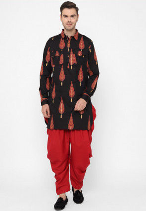 Printed Cotton Pathani Kurta Set in Black