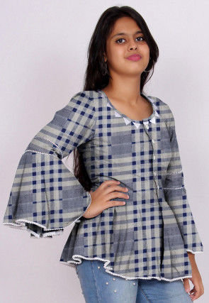 Printed Cotton Peplum Style Top in Grey