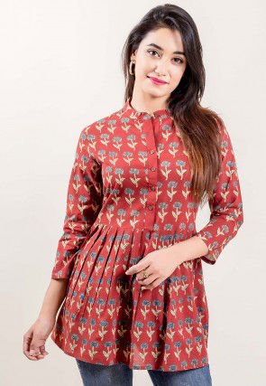 Printed Cotton Pleated Top in Rust