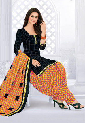 Printed Cotton Punjabi Suit in Black