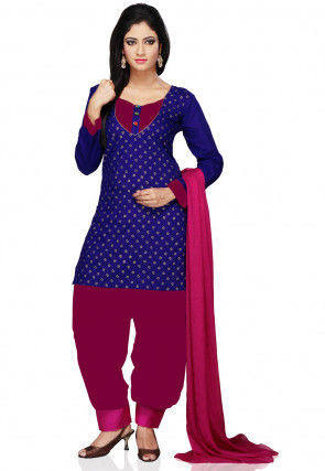 Printed Cotton Punjabi Suit in Blue