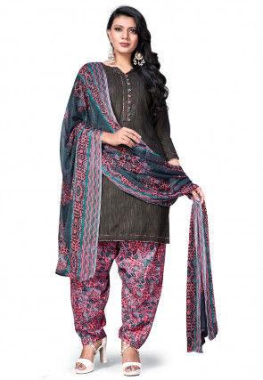 Printed Cotton Punjabi Suit in Charcoal Black