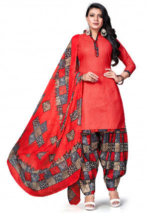 Printed Cotton Punjabi Suit in Coral Red