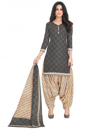 Printed Cotton Punjabi Suit in Dark Grey