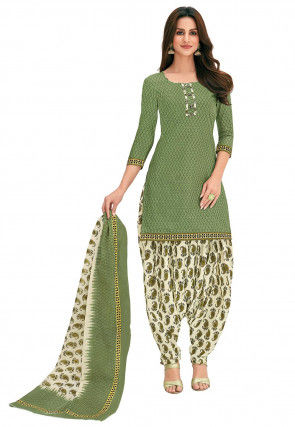 Printed Cotton Punjabi Suit in Dusty Green