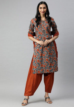 Printed Cotton Punjabi Suit in Grey
