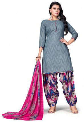Printed Cotton Punjabi Suit in Grey