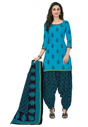 Printed Cotton Punjabi Suit in Light Blue