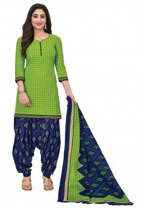 Printed Cotton Punjabi Suit in Light Green
