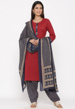Printed Cotton Punjabi Suit in Maroon