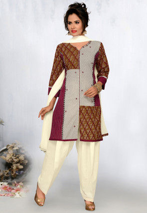 Printed Cotton Punjabi Suit in Multicolor