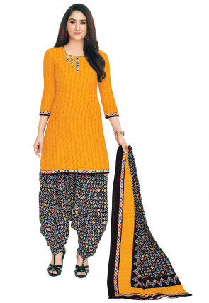 Printed Cotton Punjabi Suit in Mustard