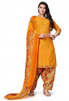 Printed Cotton Punjabi Suit in Mustard