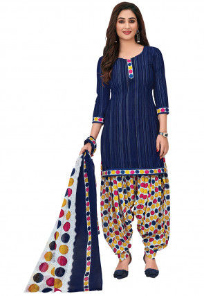 Printed Cotton Punjabi Suit in Navy Blue