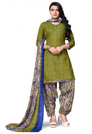 Printed Cotton Punjabi Suit in Olive Green