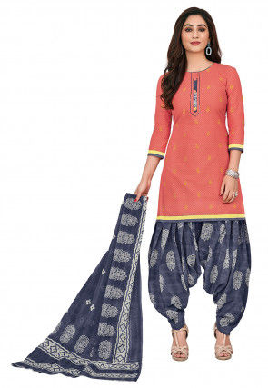 Printed Cotton Punjabi Suit in Peach