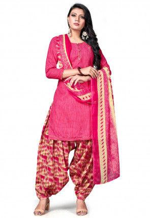 Printed Cotton Punjabi Suit in Pink