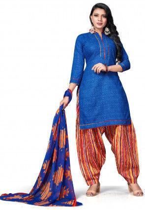 Printed Cotton Punjabi Suit in Royal Blue