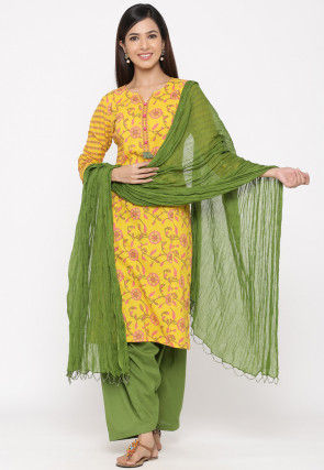 Printed Cotton Punjabi Suit in Yellow