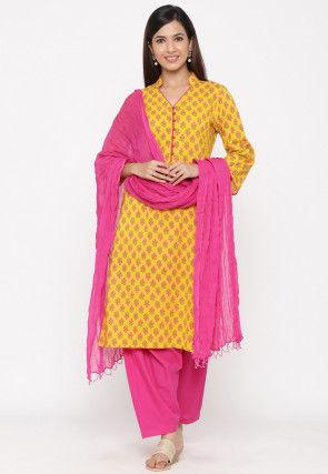 Printed Cotton Punjabi Suit in Yellow