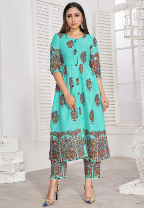Printed Cotton Rayon A Line Kurta Set in Turquoise