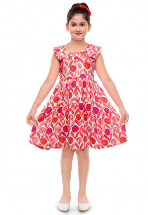 Printed Cotton Rayon Dress in White and Red