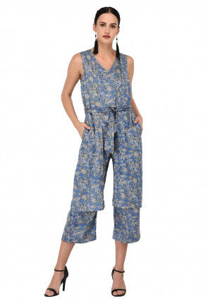 Printed Cotton Rayon Jacket Style Jumpsuit in Blue