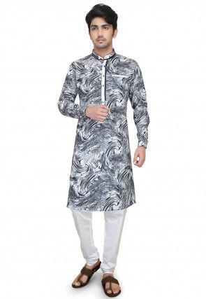 Printed Cotton Rayon Kurta Set in Black and White