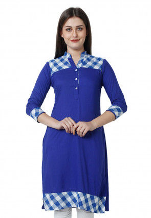Printed Cotton Rayon Kurti Royal Blue