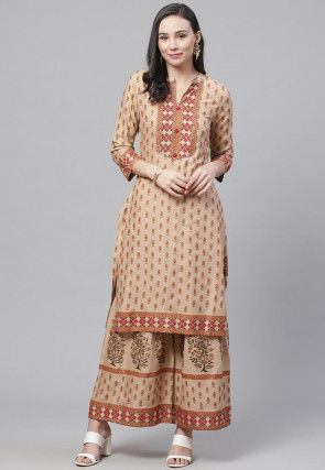 Printed Cotton Rayon Pakistani Suit in Beige