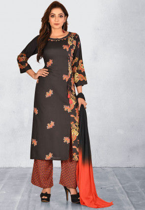 Printed Cotton Rayon Pakistani Suit in Black