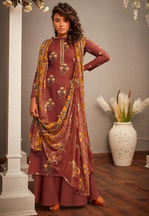 Printed Cotton Rayon Pakistani Suit in Brown