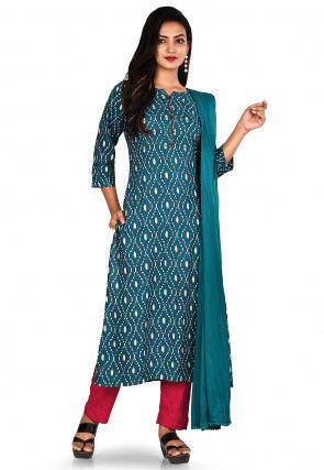 Printed Cotton Rayon Pakistani Suit in Dark Blue