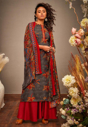 Printed Cotton Rayon Pakistani Suit in Grey