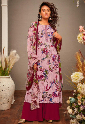 Printed Cotton Rayon Pakistani Suit in Light Pink